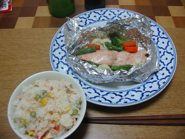 炊き込みツナピラフ,鮭のホイル焼き