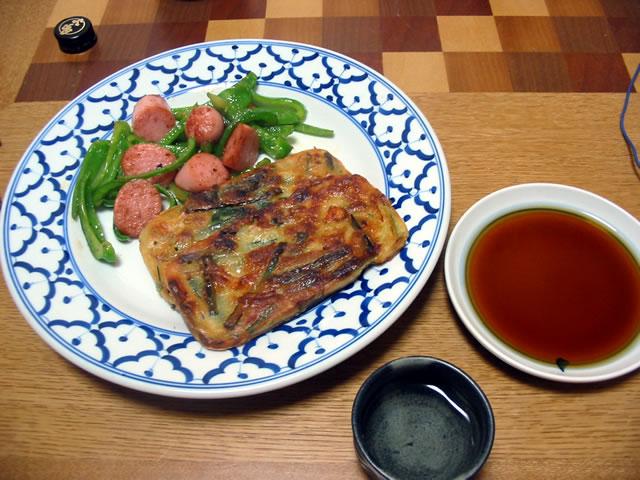 チヂミ,魚肉ソーセージとピーマンの炒め物