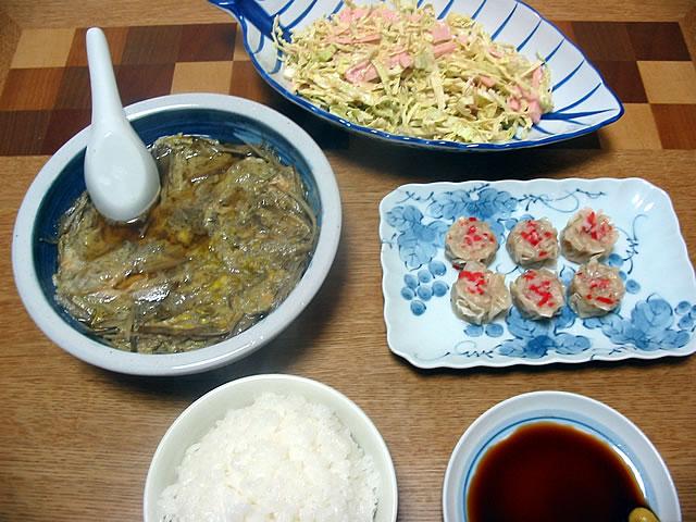 カニ焼売,ゴボウの柳川風,キャベツサラダ
