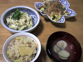 タケノコごはん,タケノコの白和え,ゴーヤチャンプル,ハマグリの潮汁