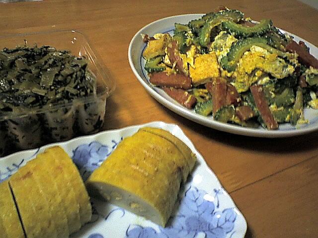 ゴーヤチャンプル,辛子レンコン,高菜漬