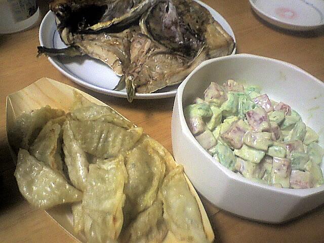 マグロとアボカドのカクテル,揚げ餃子,ブリのカブト焼き