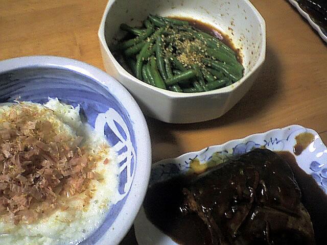 サバの味噌煮,インゲンのおひたし,千切り山芋